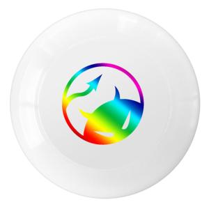 Daredevil wedstrijdfrisbee logo wit regenboog