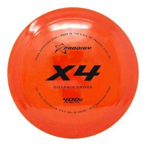 prodigy-x4-400g-plastic-X4-distance driver for disc golf orange